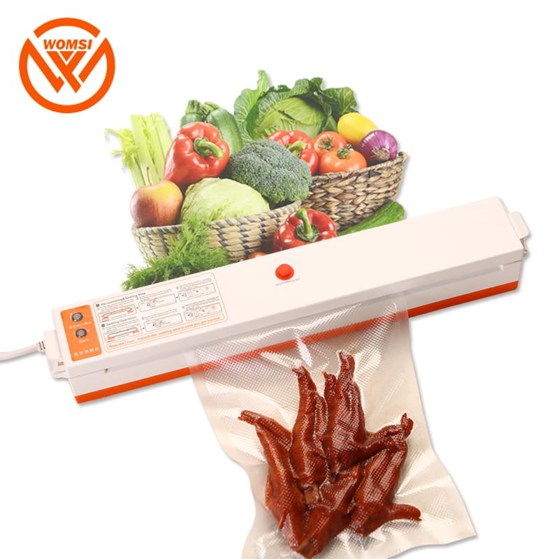 WOMSI Food Vacuum Sealer Packaging Machine With 15pcs Bags Free Vacuum Food Sealing Machine Vacuum Sealer Packer