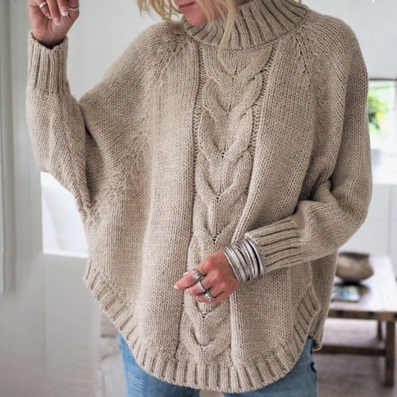 Otoño e Invierno mujer moda cuello redondo de manga larga casual suéter suelto manga murciélago suéter Mujer