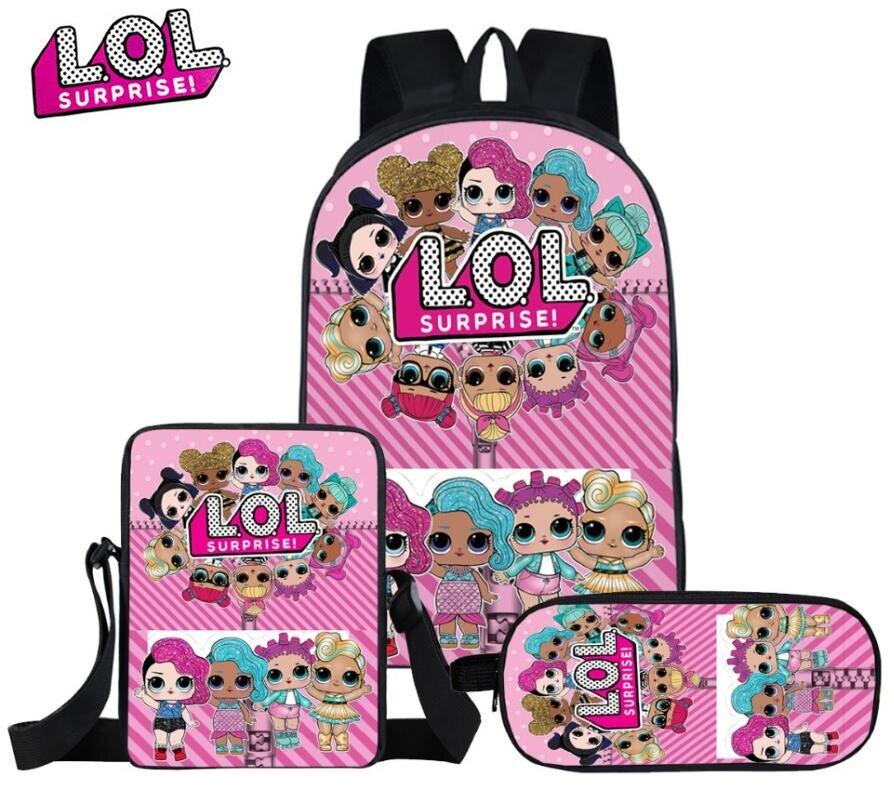 Mochila escolar para niños de L.O.L., mochila para mascotas con imagen personalizada, diseño de nombre impreso, mochila escolar para niñas