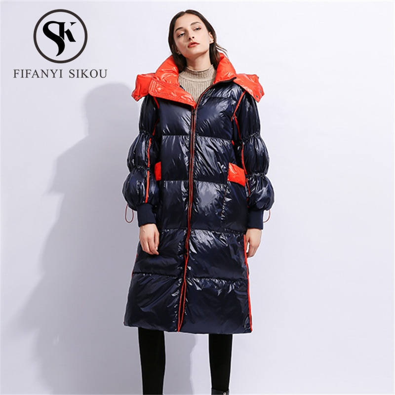 Doudoune longue à capuche pour femme   Bonne qualité, mode manteau Long à capuche, veste dhiver 2019, manteau épais chaud, Parka femme, manteau de canard blanc
