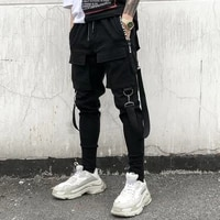 cargo pants men multiple pockets black pants elastic waist pencil pants with suspenders mens hip hop clothing trendy streetwear