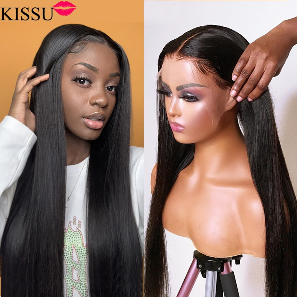 KISSU 13X4X1 Bone straight lace front wig long wig 28 30 32 inch Brazilian lace front human hair wigs for women T part lace wig