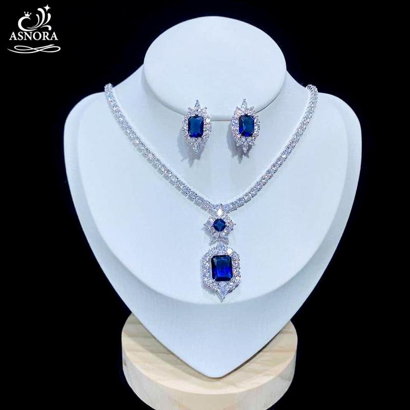 ASNORA, nuevo, brillante, zirconio cúbico, pendientes de boda, conjunto de joyería, conjunto de joyería azul real, accesorios de vestido de noche X0825