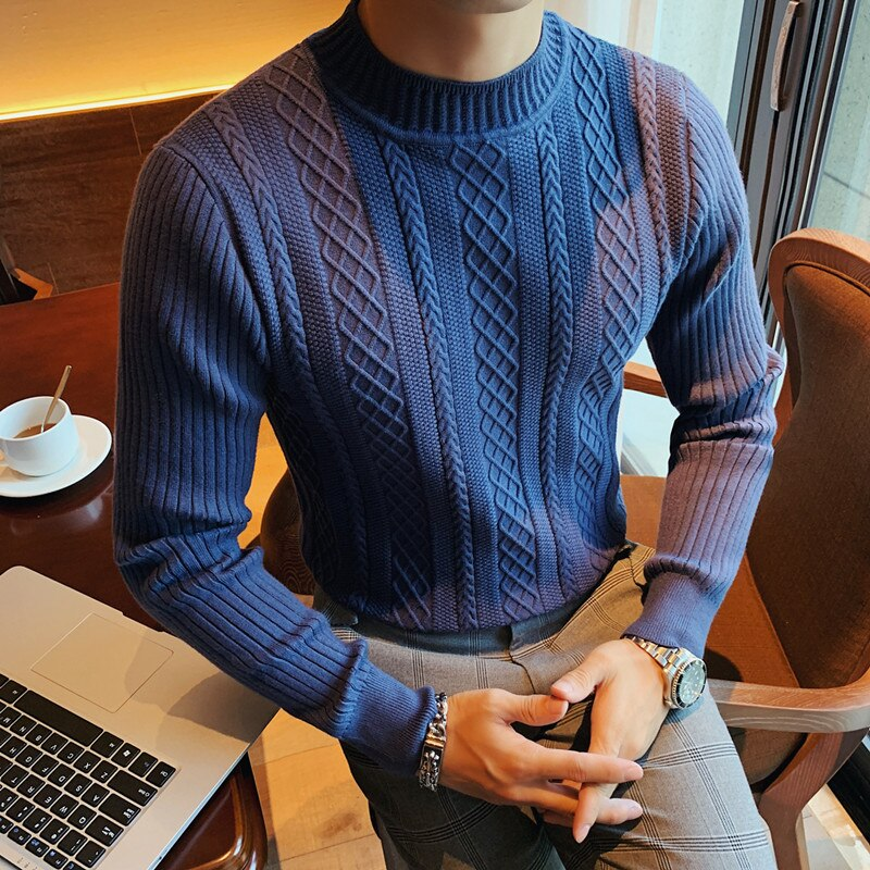 Fall Winter Half Turtleneck Men's Sweater Korean Slim Twist Thick Line Middle Collar Knitted Pullovers Pure Color Knitwear 2021