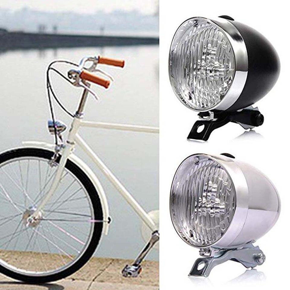 Farol de bicicleta retrô clássico de 3 leds, luz para bicicleta, farol retrô, lâmpada de segurança frontal para neblina