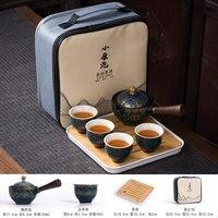 Tea Cup Set Chinese Tea Set Ceramic Kung Fu Tea Cup Teapot with Bag Tea Making Portable Travel Outdoor Tea Service Tools Mug New