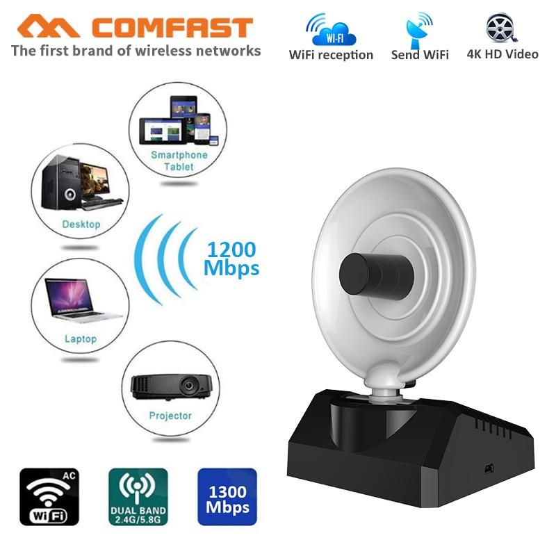 COMFAST 1200Mbps high power wireless wifi adapter RTL8812BU+PA high gain usb3.0 wifi radar antenna strong signal network card