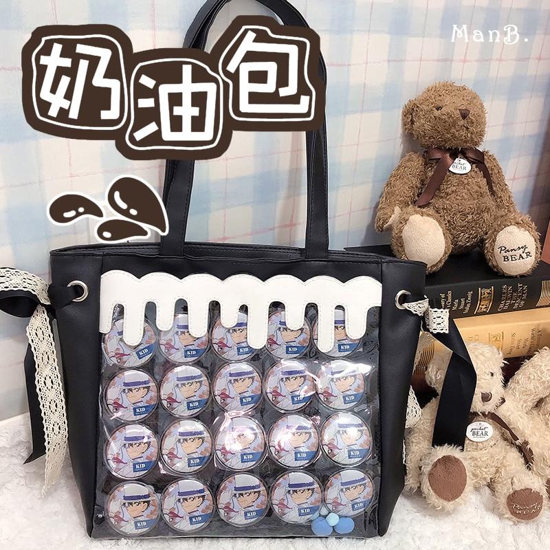 Itabag-حقيبة يد شفافة من الجلد الصناعي مع شارة ، حقيبة كتف ، تأثيري ، Harajuku ، لوليتا ، فتاة JK ، زي طالب أنيمي