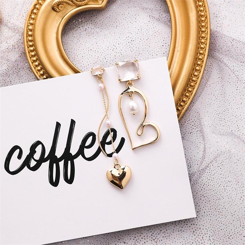 Женские асимметричные серьги-кисточки, металлические серьги в форме сердца с цирконом и жемчугом, ассиметричные серьги, ювелирные изделия, ...
