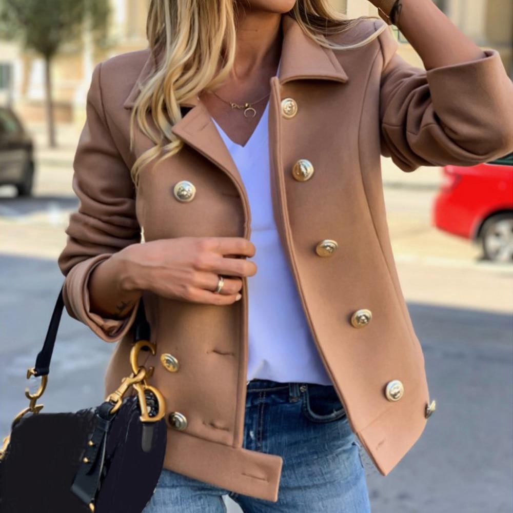 Women Short Military Style Wool Jacket Offices Lady Casual Wild Button Jacket  Female Khaki Work Formal Coat Vintage Jacke D20