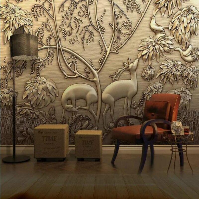 Golden Embossed Forest Elk Bird 3D Photo Wallpapers for Walls Cafe Restaurant Tea Bar KTV Background Decor Wall Paper Mural 3D