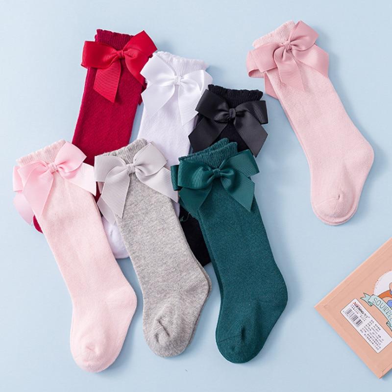 Baby Girls Socks Knee High With Bow Baby Princess Socks For Girl Sweet Cute Baby Socks Long Tube Kids Children Dress Accessories