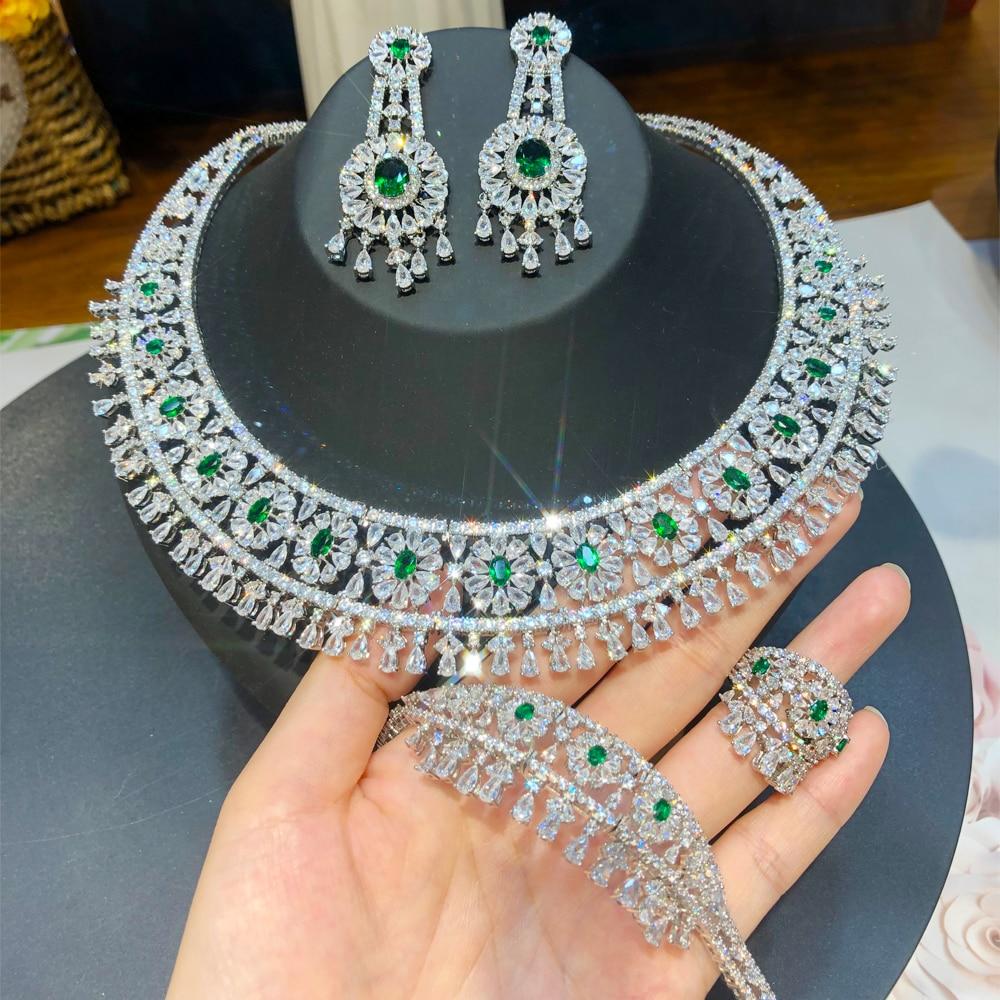 Kellyبولا الفاخرة دبي قلادة سوار خاتم أقراط مجموعة السيدات الزفاف مكعب الزركون تشيكوسلوفاكيا الزفاف بوتيك مجوهرات 4 قطعة