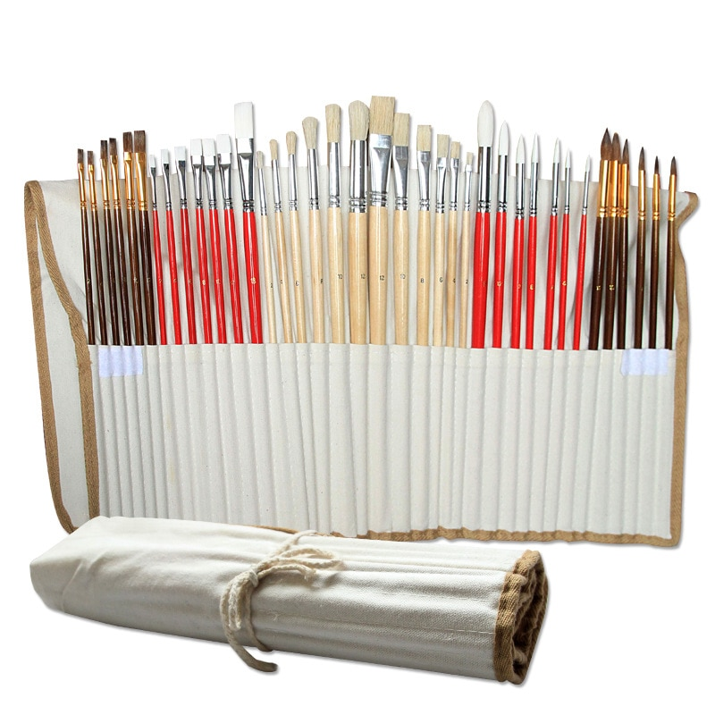 38pcs/Set Nylon Hair Bristle Artist Paint Brushes with Canvas Case Wooden  Art Supplies For Oil Acrylic Watercolor Painting