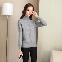 6 color half turtleneck knitted pullover thick elastic sweater women jumper 2021 autumn loose long sleeve casual bottoming shirt