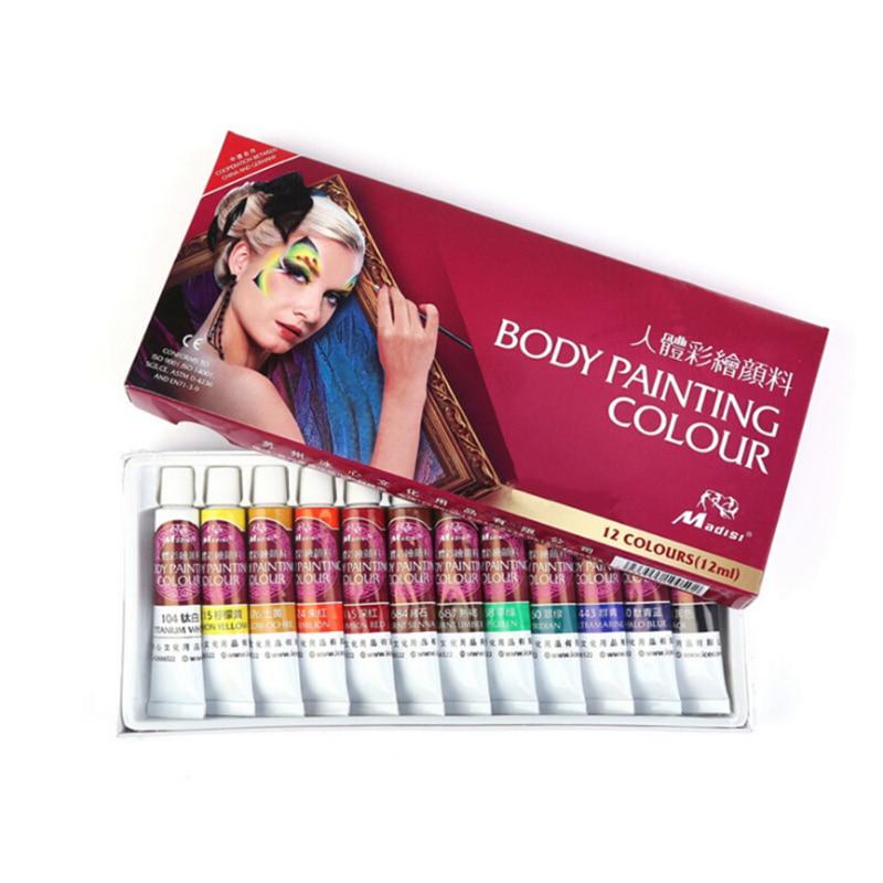 12 цветов, Детские краски для тела, маскарадные масляные краски для лица, инструменты для макияжа