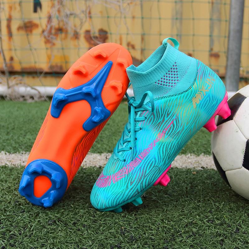 Мужская футбольная обувь Turf, Детские тренировочные футбольные бутсы, высокие спортивные кроссовки до щиколотки, мужские бутсы размер 35-45 бутсы футбольные сер зел синтетическая кожа размер 44 sd500 turf