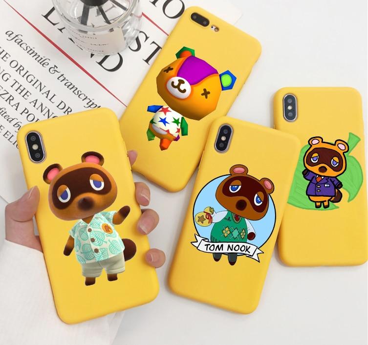 Animal Crossing color dulce TPU funda de teléfono para iphone X 7 XS XR XSMAX 11 11Pro 11ProMax funda de dibujos animados