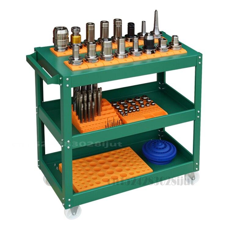 عربة تخزين أدوات CNC ، لأدوات الطلاء بدرجة حرارة عالية ، رف متحرك في ورشة عمل ، رف ثلاثي الطبقات