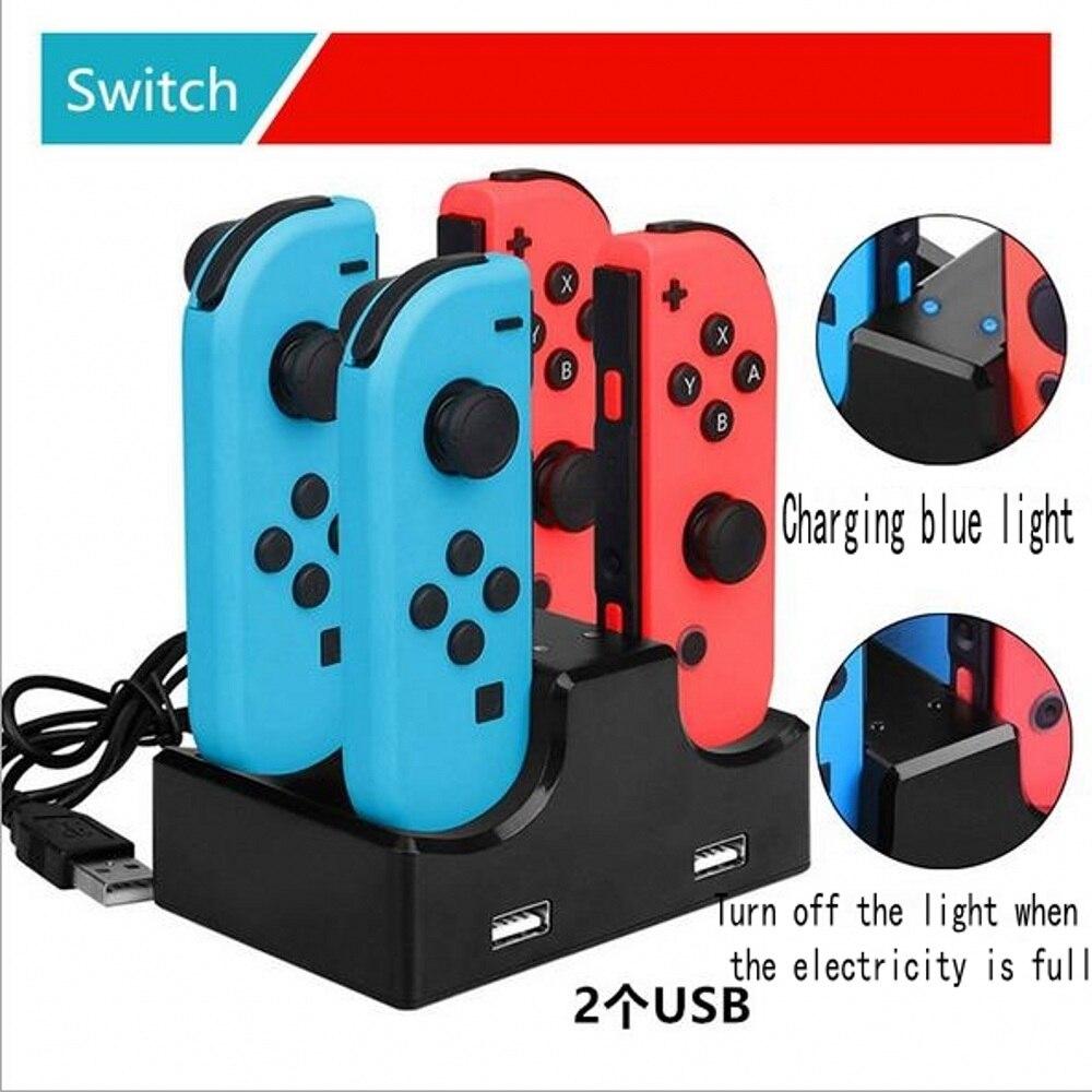 Carregador de controle para nintendo switch 6 em 1, dock de carregamento para nintendo switch joy-con e outros controladores pro