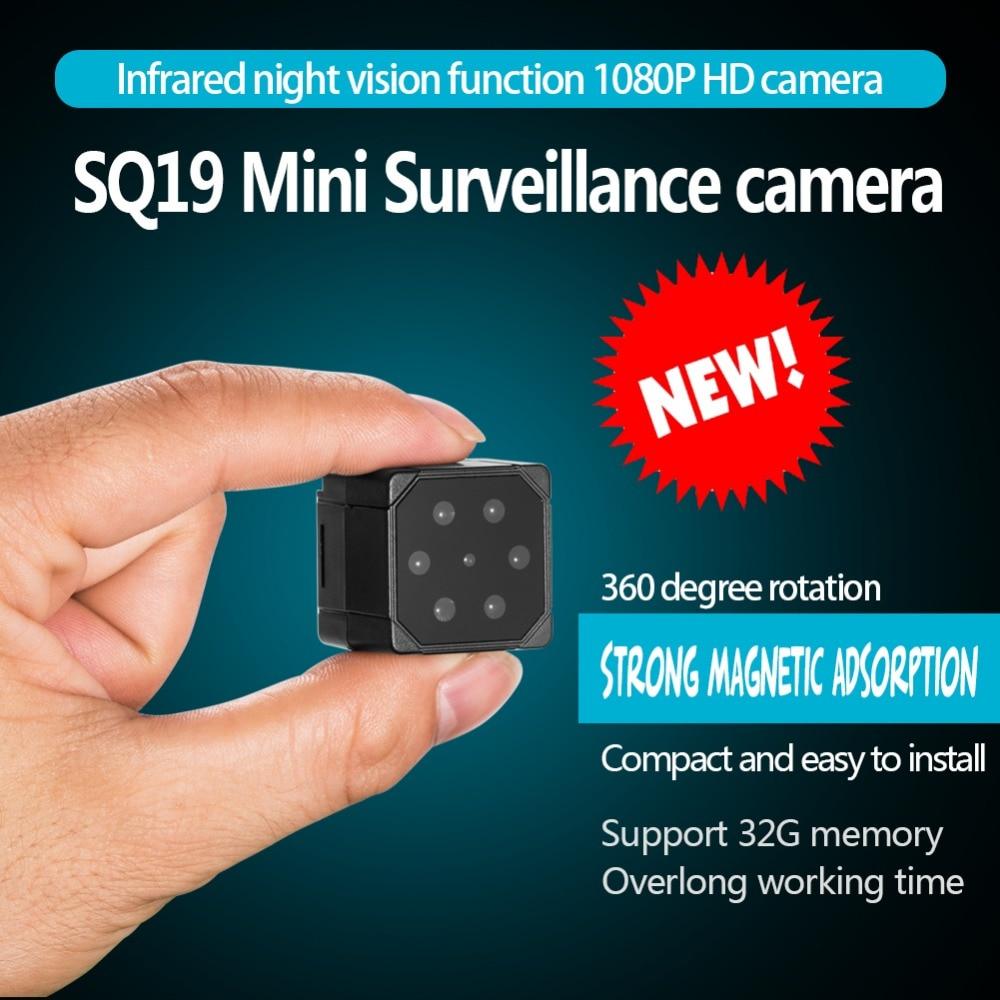 SQ19 Mini cámara HD 1080P DVR videocámara infrarroja visión nocturna detección de movimiento cámara de vigilancia 360 rotación pk sq11 sq23