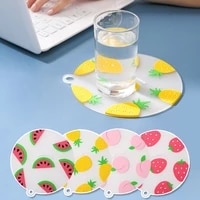 1pc pvc table mat cartoon fruit heat insulation placemat round square shape creative strawberry pineapple watermelon cup coaster