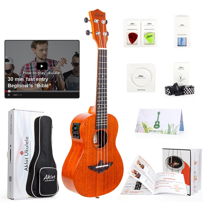 Ukelele eléctrico Aklot sólido caoba con vídeo en línea Ukelele Soprano concierto Tenor Uke 4 cuerdas guitarra con correa sintonizador de cuerda