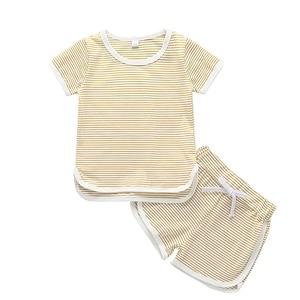 2PCS Summer Kids Baby Girls T-shirts+Striped short pants set Children stripe Short Sleeve Tops o-neck active Blouse clothes A40