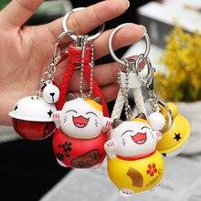 Chinese Style Anime Cartoon Cute Lucky Cat Bell Decoration KeyChain Kiki Dolls Key Chains Keyring Women Bag Charm Porte Clef