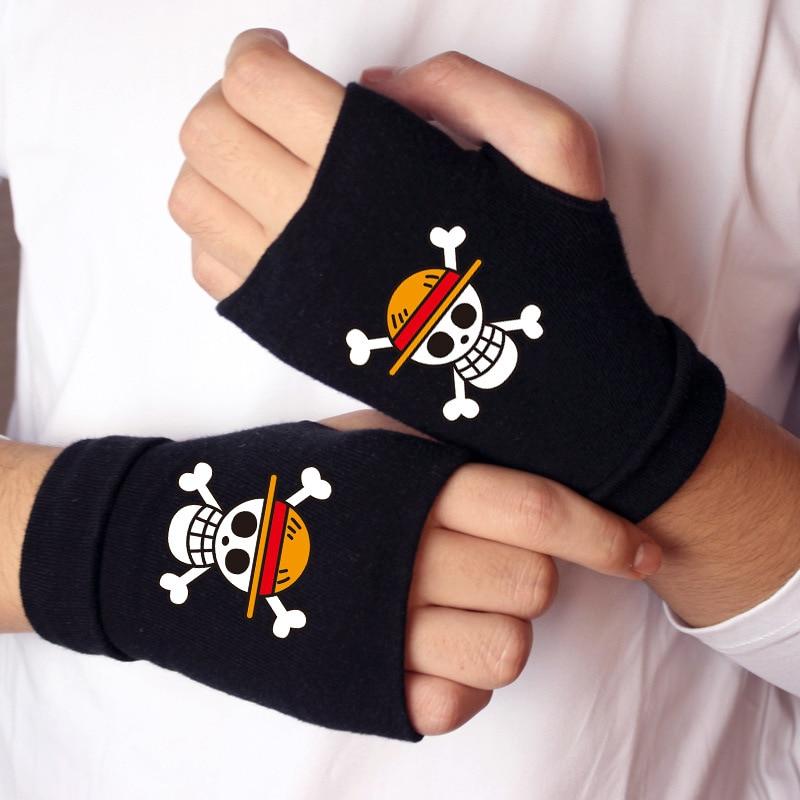 Une pièce gants automne hiver coton chaud une moitié signifie les gants Anime luffy Trafalgar Law Cosplay Handwear