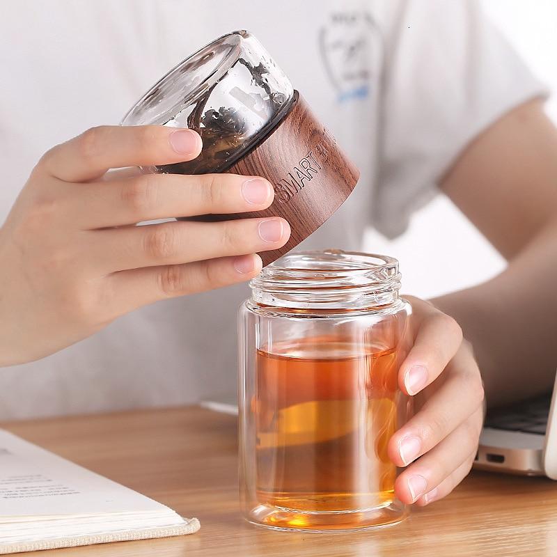 Botella de infusión de té de vidrio de borosilicato de doble capa de 200ml con bolsa de filtro de acero inoxidable para oficina, Chico, mujer, inteligente