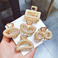 Hair Clips Gold Color Bowknot Rose Flower For Women Jewelry Bow Tie Rectangular Semicircle Oval Heart Fashion Accessories,1 PC