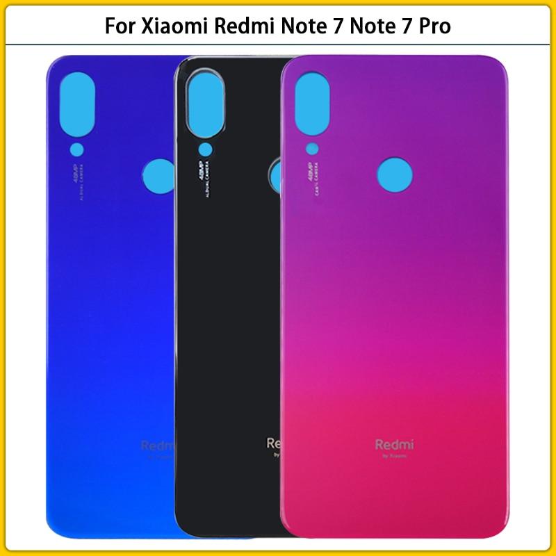 10 قطعة ل شاومي Redmi نوت 7 غطاء البطارية الباب الخلفي الزجاج لوحة ل Redmi نوت 7 برو الغطاء الخلفي الإسكان الخلفي استبدال