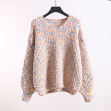 Autumn and Winter V-neck Pullover Thickened Thick Thread Women's Idle Style Lantern Sleeve Short Loo