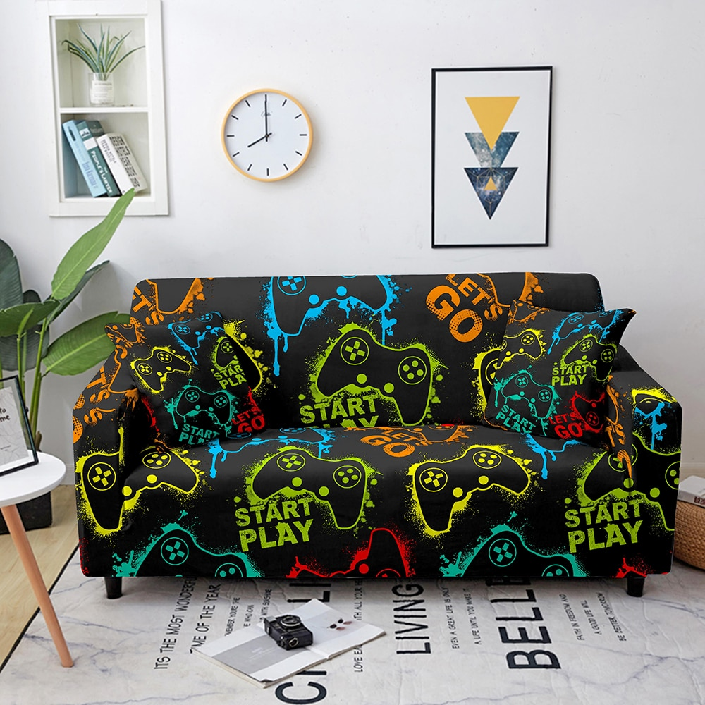 marble sofa cover sofa slipcovers elastic couch covers sectional sofa covers sofa set loveseat armchair sofa couch cover Game Sofa Cover Elastic Gamepad Corner Sofa Covers For Living Room Sofa Slipcovers Stretch Sectional Couch Cover L Shape