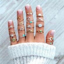 19 teile/satz Berg Meer Sonne Mond Ringe für Frauen Vintage Pfeil Blue Eye Knuckle Ring Boho Schmuck