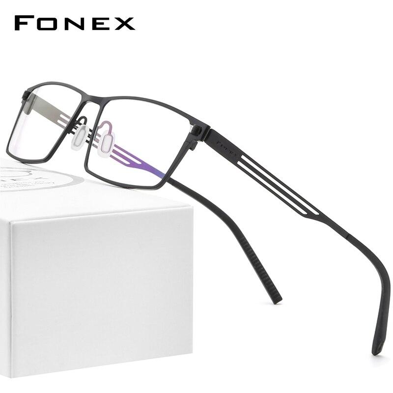 FONEX التيتانيوم النقي النظارات الإطار الرجال 2020 جديد وصفة طبية مربع النظارات إطارات النساء قصر النظر البصرية بدون مسامير نظارات 8531
