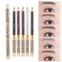 Crayon à sourcils léopard Portable Durable étanche à la transpiration crayon à sourcils longue durée Double tête avec brosse