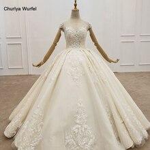HTL1413 zarif düğün elbisesi kat uzunluk yaz şampanya fildişi gelinlik pullu gelinlik 2020 tül Robe De Mariee