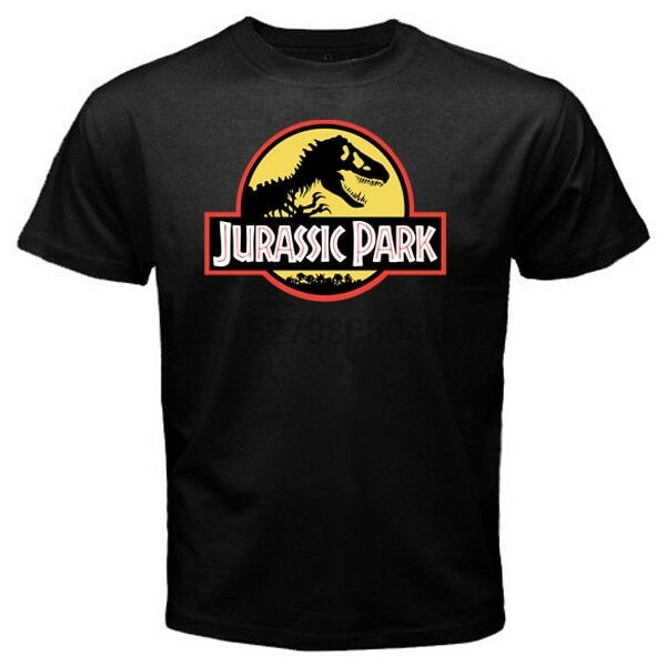 Jurrasic park yellow BG - Custom Мужская Черная футболка