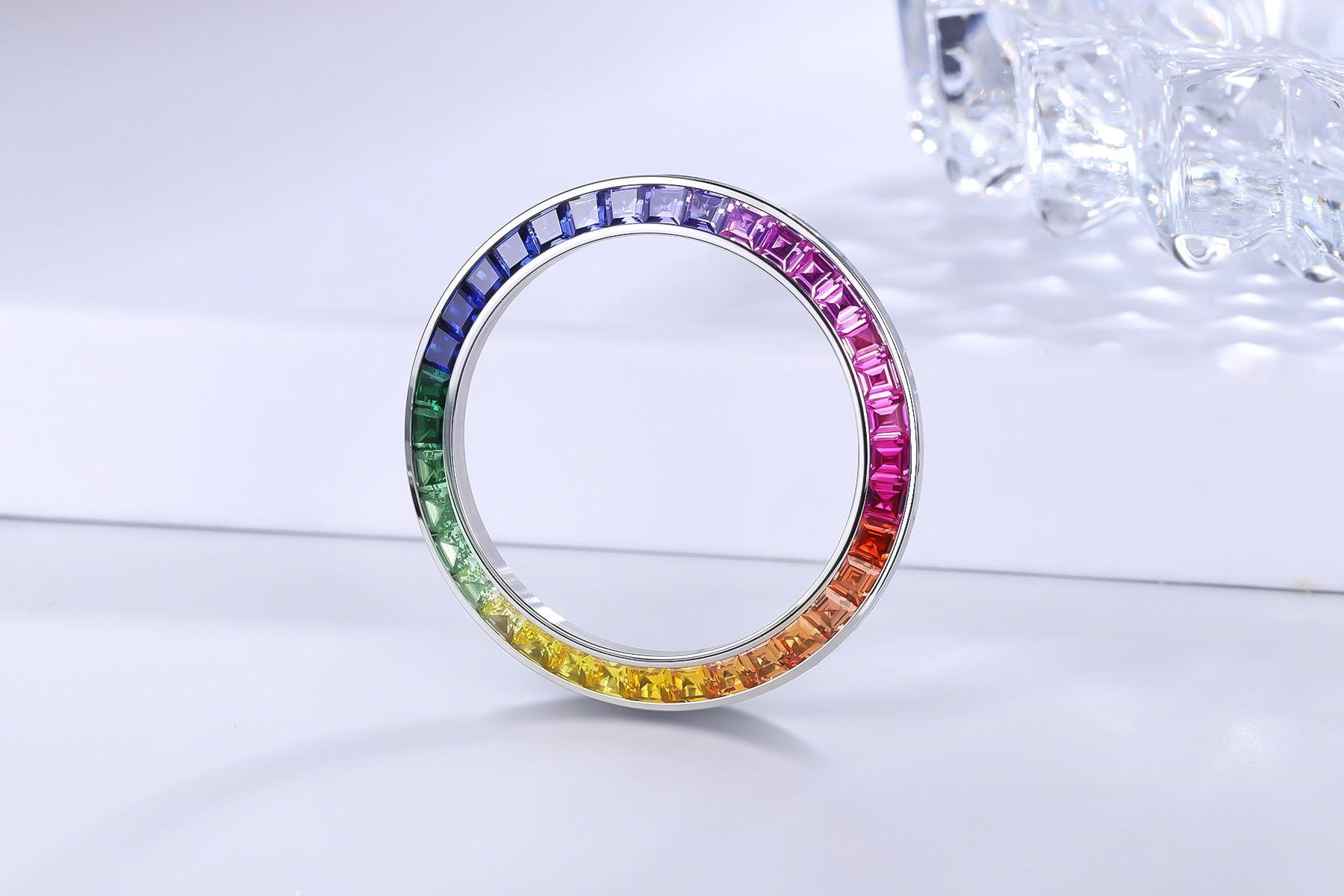 Customized Watch Bezel Daytona Rainbow 40mm Inserts Made Out of Stainless Steel with Created Sapphire