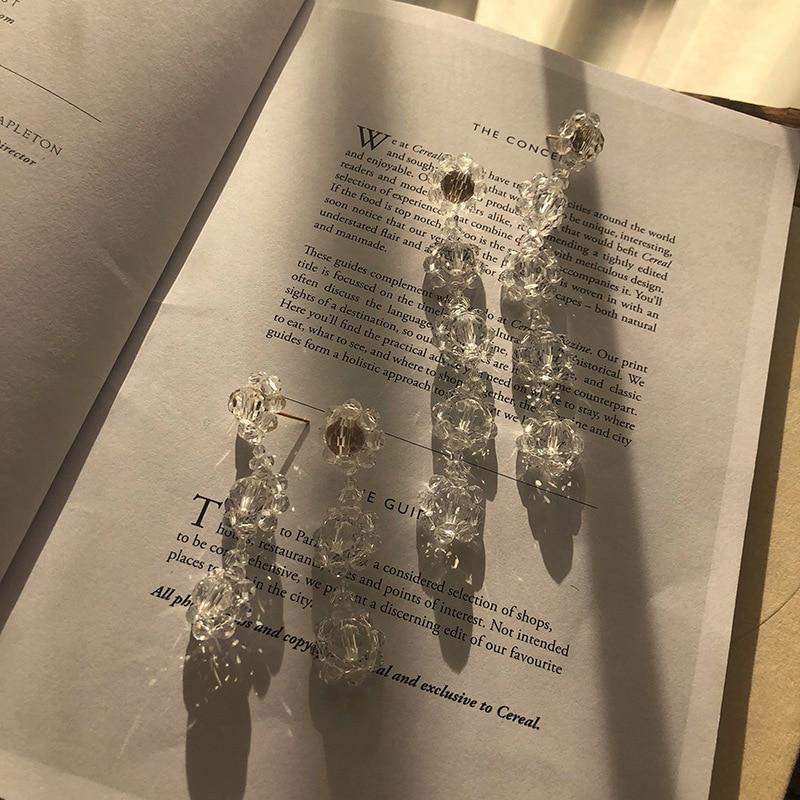 2020 Korean Chic Vintage Sweet Beaded Crystal Flower Dangle Earrings For Women Girls Egirl Fashion Dating BFF Aesthetic Jewelry