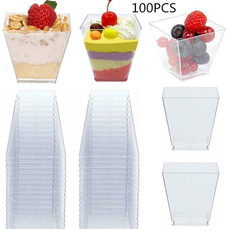 100PCS 60ML Transparent Dssert Cups PS Hard Plastic Trapezoid Square Dessert Cup Plastic Portion Cups Disposable Storage Cups