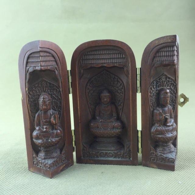 Elaborado chino Vintage Buda estatua caja especial de boj con escultura interior...