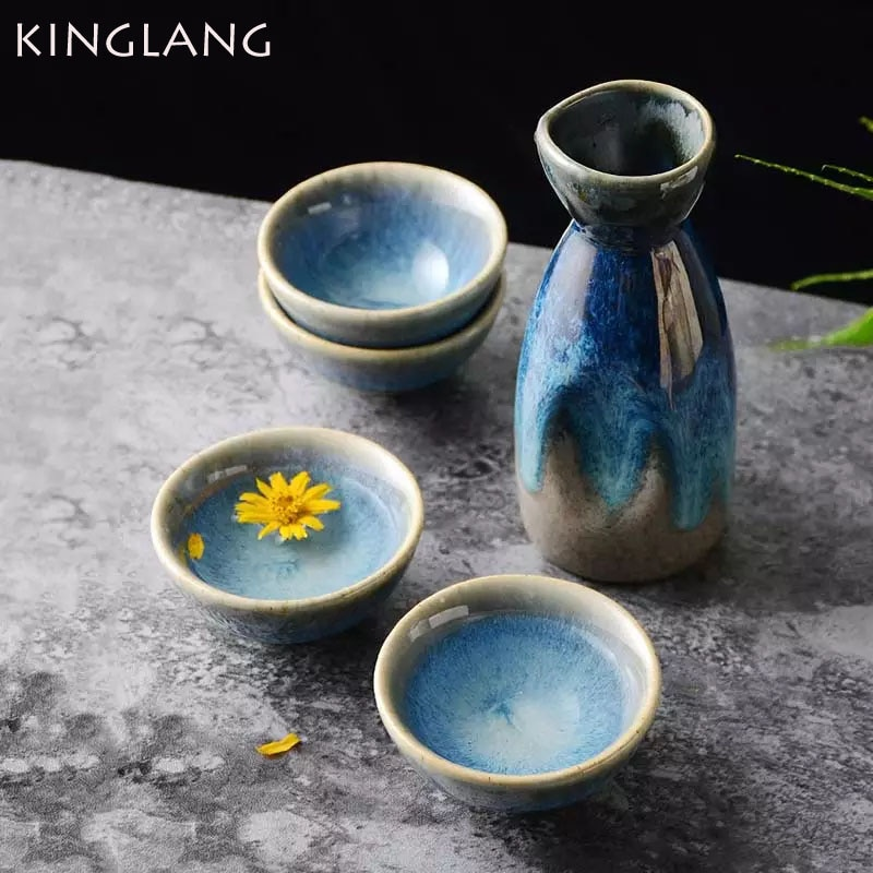 KINGLANG 5Pcs Set Retro Japanese Sake Set Ceramic Flagon Liquor Cup 1 Pot 4 Cups Home Bar Sake White Wine Pot Creative Drinkware