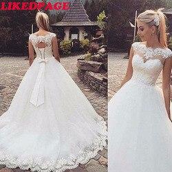 Likedpage sem costas manga curta boné boho apliques vestidos de casamento 2020 plus size vestido de noiva feito sob encomenda