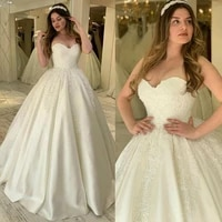 elegant satin wedding dress 2021 ball gown vestidos de noiva plus size beads white bridal gowns for women strapless %e3%83%89%e3%83%ac%e3%82%b9