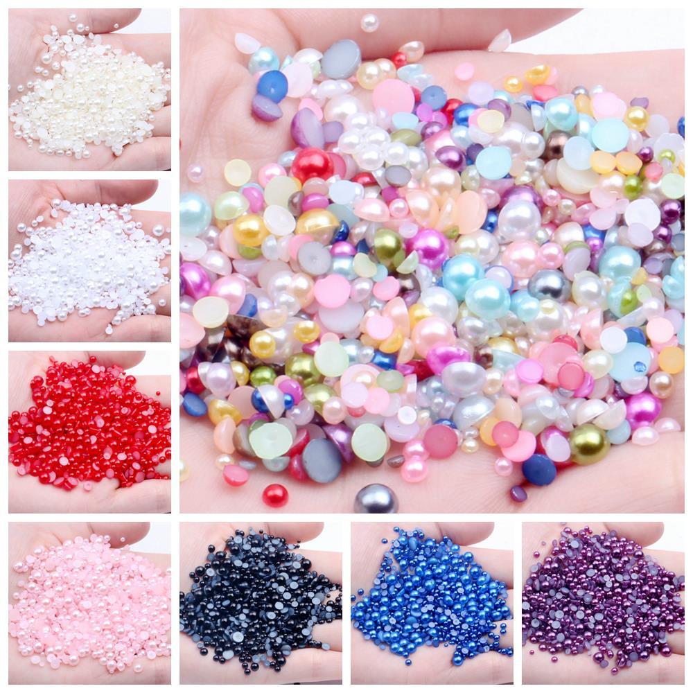 Bolsa grande 1,5mm-6mm Multicolor ABS medio redondo perla plana trasera cuentas cabujón cuentas sueltas para vestidos de Arte de uñas artesanales