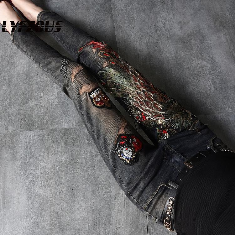 Schwarz Jeans Frauen Herbst frühling Ins Stickerei Pailletten Phoenix Löcher Jeans Weibliche Dünne alle-spiel Denim Hosen Damen Mädchen jeans