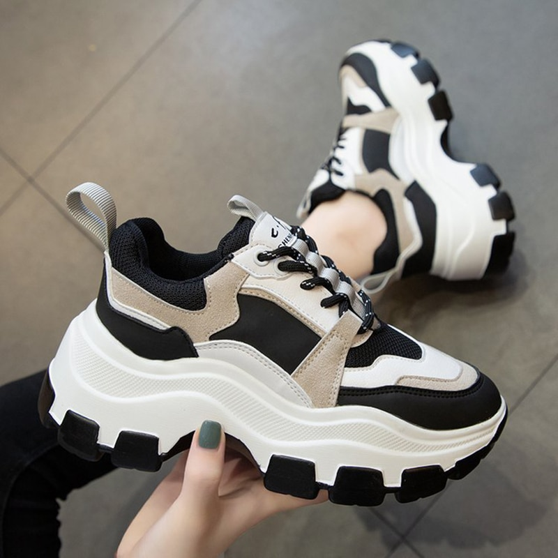 Women Sneakers Fashion Chunky Shoes Thick Sole Female Mesh Lace Up Platform Vulcanize Shoes Casual F